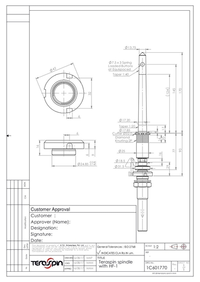 Picture of 1C601770 (standard spindle with knurling & cutter for LMW ring frames)