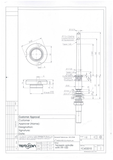 Picture of 1C602010 (standard spindle with knurling & cutter for LMW ring frames)