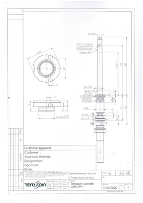 Picture of 1C602020 (standard spindle with knurling & cutter for LMW ring frames)