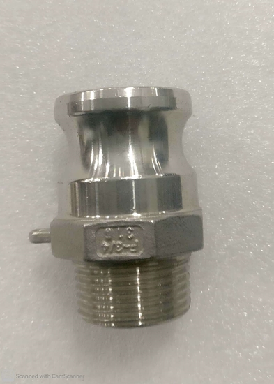 """Picture of Camlock coupling - 3/4""""- SS Type-F male adapter x male thread"""