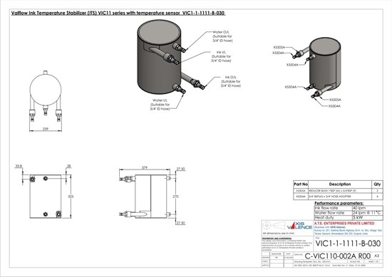 Picture of Ink Temperature Stabiliser with temperature sensor and without pneumatic valve (VIC1-1-1111-B-030)